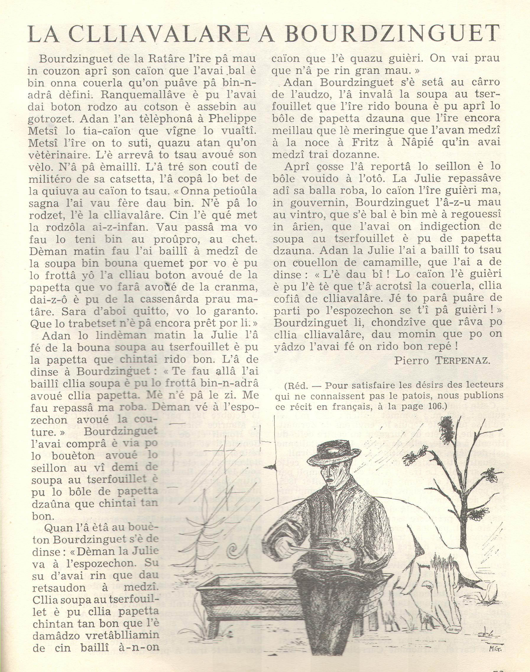 La clliavalare a Bourdzinguet Messager%20Boiteux-arpitan-1966